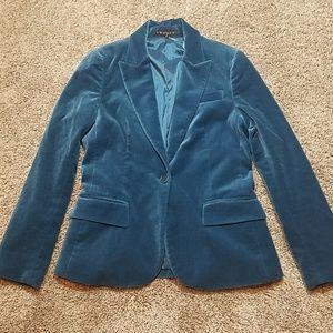 Theory Teal Velvet Career Blazer Suit Jacket Sz 2